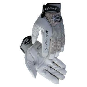 Caiman Gray Deerskin Leather Gloves